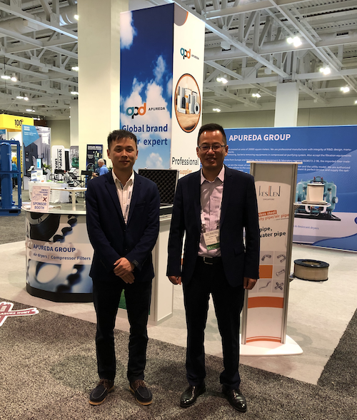 Austin Wang and Jackey Lee at the Apureda Group booth