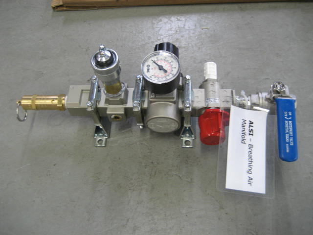 Supplied air respirator disconnect manifold meeting NIOSH requirements