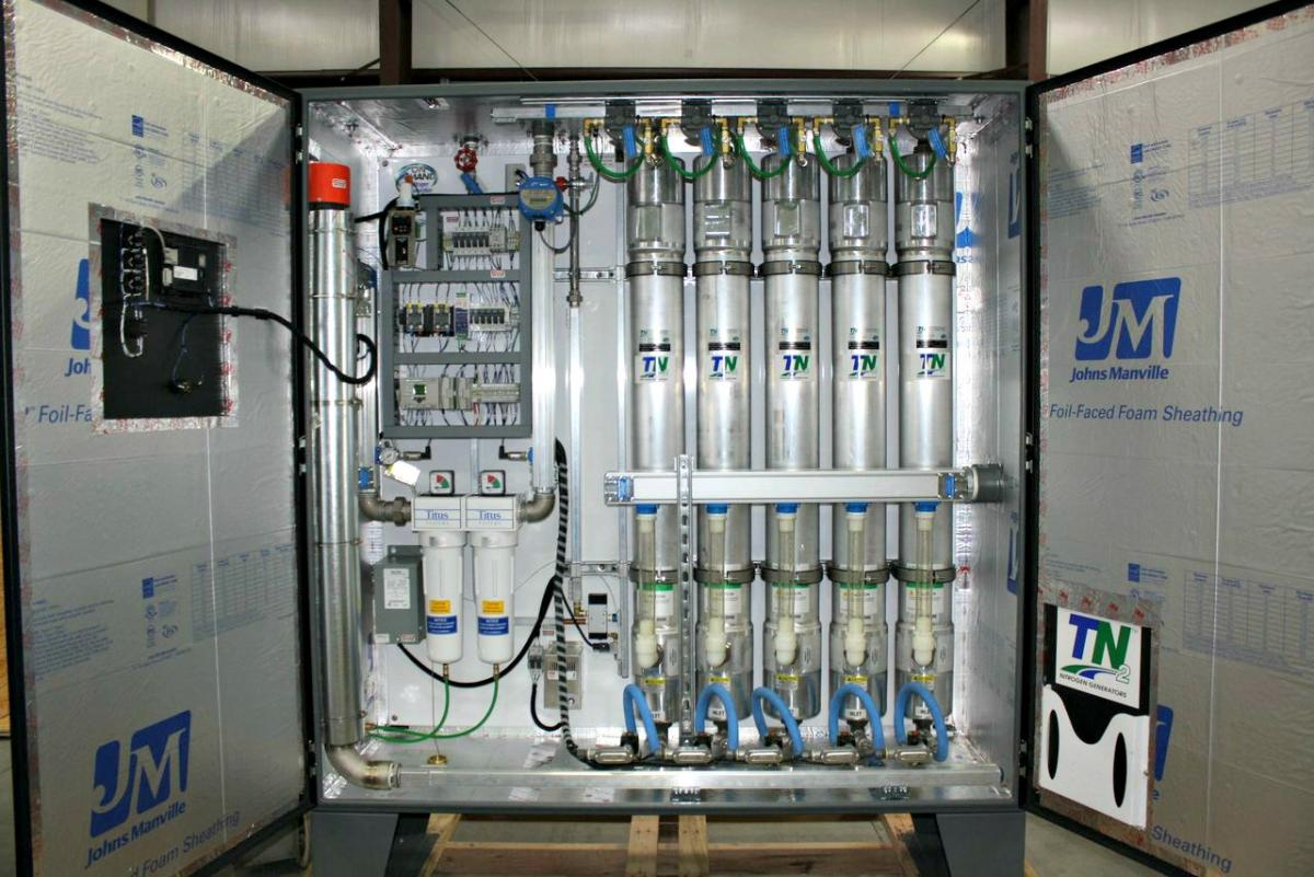 Custom-engineered nitrogen generator that stages from one to five modules