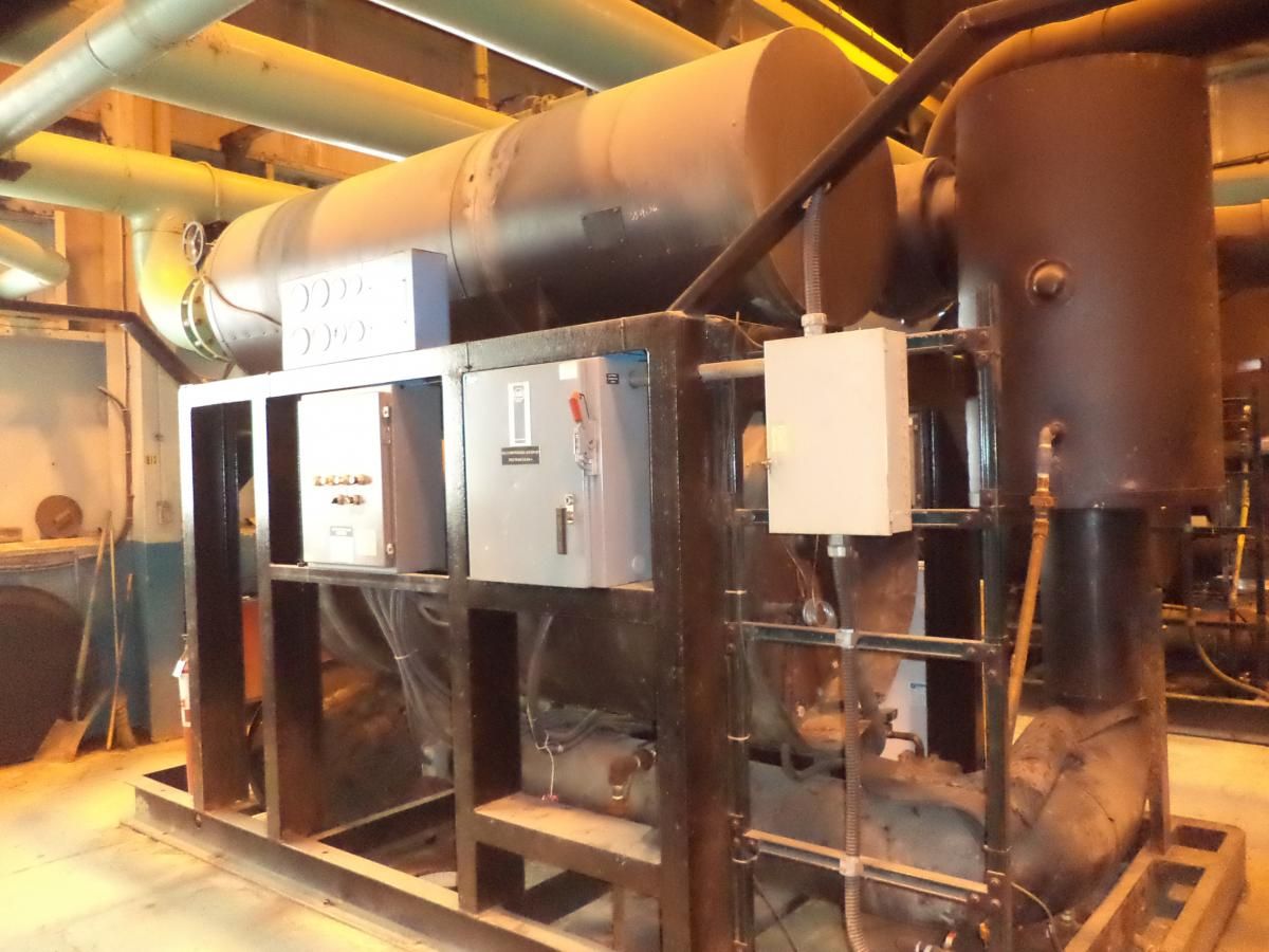 Hybrid-style dryers are used onsite to condition the air for the smelter. This is the 10,000 cfm rated refrigerated part of the combined refrigerated/heated/blower desiccant unit.