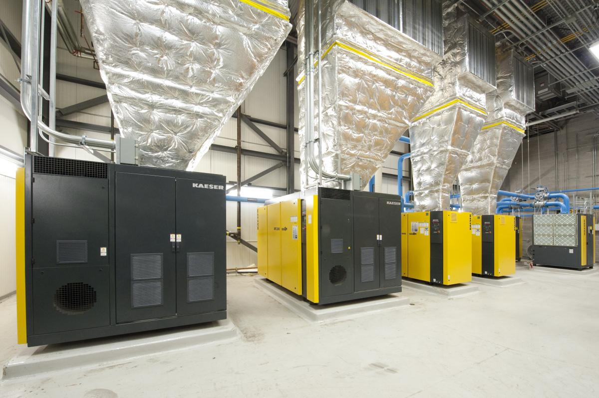 The new system uses four rotary screw compressors and two booster compressors.